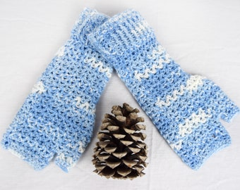 Blue & White Crochet Handwarmers, Fingerless Mitts (L) - 6 colours available