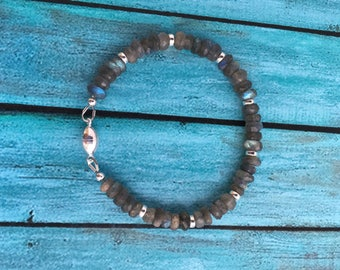 Labradorite and Sterling Silver Bracelet - Free U.S. Shipping