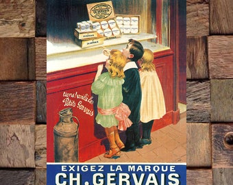 Gervaise Vintage Candy Ad, Food Ad,Children Art,Vintage Chocolate Ad, Vintage Candy Ad, Vintage Art, Giclee Art Print, fine Art Reproduction