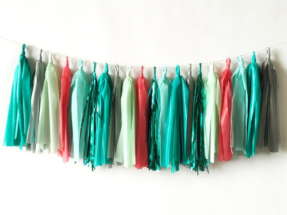 New! Coral and Teal Tassel Garland