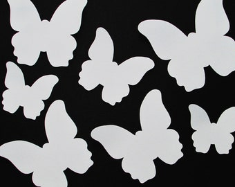 "Paper butterfly die cuts /white/ 25 pc/  size from 1.5"" to 8""  great for tags, scrapbooking, room decor"