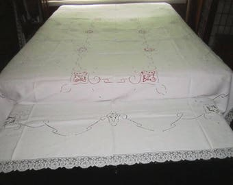 Vintage Elegant White Linen Madeira Lace 72x104 Banquet Tablecloth or Bed Cover