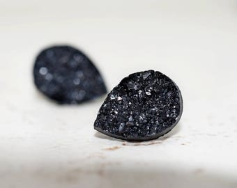Black Teardrop Druzy Earrings, 14mm Metallic Glitter Jet Black, Faux Drusy Glittering Stainless Steel Studs