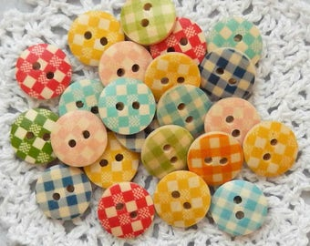 10 Gingham Buttons, Plaid Buttons, Checkered Buttons, Wooden Buttons, Cardmaking, Scrapbooking, Craft Buttons, Multi Color, 15 mm