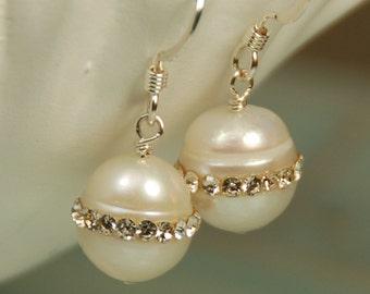Rhinestone Pearl Earring, Single Pearl, Bridal Earring, Bridesmaid Earring, Natural Pearl Drop, Real Freshwater Pearl, Sterling Silver