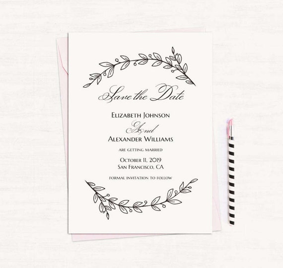 Simple Wedding Announcement Template Black And White Save The