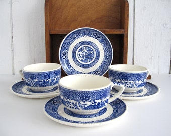Vintage Blue and White China Coffee Cup Saucer Set Tea Cups Indigo Oriental Blue Willow China Farmhouse Kitchen Cottage Chic Decor