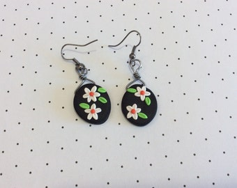 White Daisy Polymer Clay Earrings Handmade