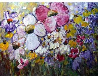 Flowers Garden Pansies Irises Daisy Black-eyed Susan Floral SUMMER FIELDS Large 40x30 Canvas by Luiza Vizoli