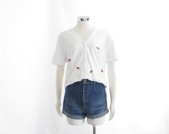 90s Butterfuly Shirt V-Neck Button Down T Shirt Aesthetic Clothing 90s Grunge Shirt Vaporwave Top Womens Baseball Shirt Vintage Kawaii Large