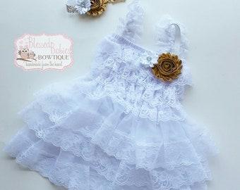 Baptism lace dress - wedding lace dress - wedding baby dress - newborn crown headband - white baby lace dress - baby girl gift- easter dress