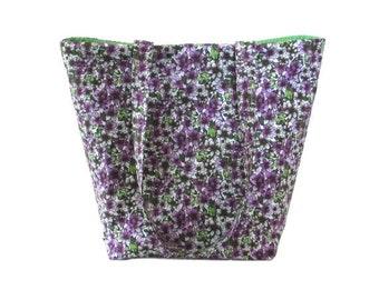 Floral Tote Bag, Cloth Purse, Purple Flowers, Handmade Handbag, Violets, Purple, White, Green, Fabric Bag, Shoulder Bag