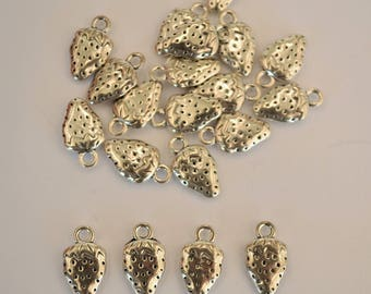 5 x Antique Silver Strawberry Charms