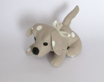 Doggy Desk Buddy, Taupe Dotty Fabric, Paperweight, Office, Dog, Animal, Quirky, Handmade, Fabric, Desk mate