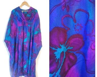 Waltah Clarks Hawaiian Muumuu dress size 12 Large Blue Purple floral