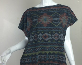 Multi-Colored Diamond Pattern Print Soft Shirt Wide Neck Size Large