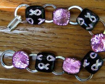 Breast Cancer Bracelet, Pink Dichroic Bracelet,  Fused Glass Link Bracelet , Pink Breast Cancer Fused Glass Bracelet,Breast Cancer Awareness