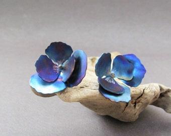 Blue Flower Earrings, Pansy, Titanium Earrings, Flower Earrings, Handmade, Earrings for Girls, Statements Earrings Blue, Everyday Jewelry