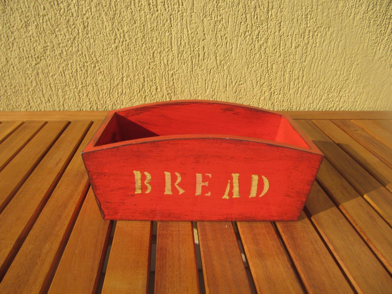 Rote Holz Brotkorb retro rot Brot Server Küchenzubehör auf