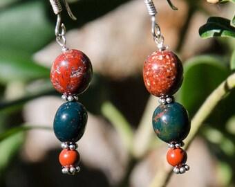 Earrings in silver Sterling and gemstones