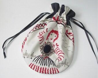 Handbag, purse, drawstring bag, reticule, red and black