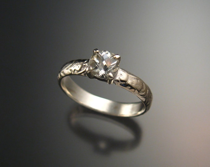 White Topaz Wedding ring Sterling Silver Diamond substitute ring made to order in your size