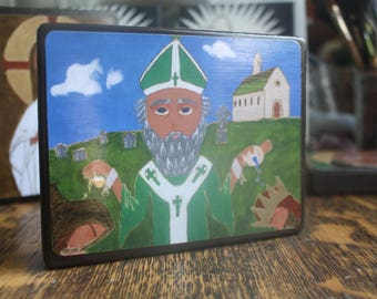 4 X 5ish Saint Patrick Icon Print on wood