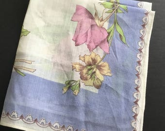Vintage Handkerchief, mauve Roses, blue outside trim