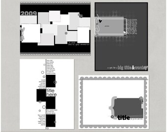 Sample Pack 16 - 8.5x11 Digital Scrapbooking Templates