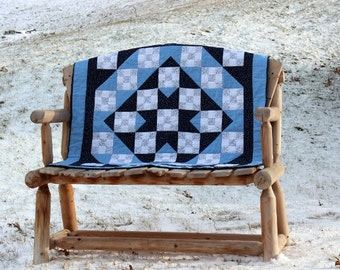 Quilt Navy Blue and White Patchwork Lap Quilt or Baby Quilt Baby Boy or Baby Girl