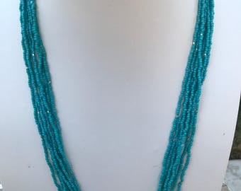 Turquoise Multistrand Seed Bead Necklace