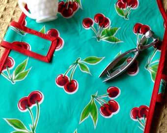 Cherry Print Oilcloth Waterproof Apron for Children with Hook and Loop Fastener Strap, Kids Aprons, Montessori Inspired