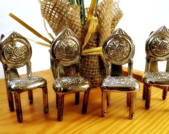 4 Victorian Chair Napkin Rings Silver Metal Set Miniature Tiny