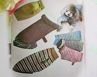 Vintage 1970s Knitting Pattern Copy For Dogs Coats In 4 Styles & Various Sizes For Cozy Canines.