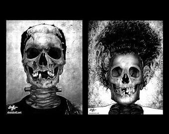 """Drucke 8 x 10""""- Monster und Braut - Frankenstein dunkel Kunst Skelett Skelett Horror Halloween klassische Monster gotische Dracula Macabre Zombie"""