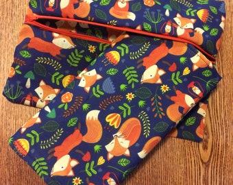 Fox print nappy bag and changing mat
