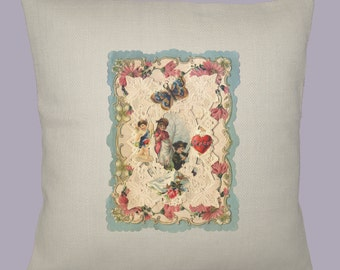 Vintage Valentine Collage 16x16 Handmade Pillow Cover - Choice of Fabric