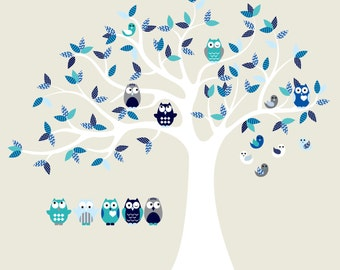 children wall decal for nursery-Vinyl tree decal-Owl tree decal-5 Free owls
