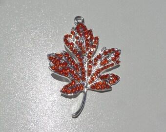 50mm*40mm, Orange Leaf Rhinestone Pendant, Fall Leaf, Autumn Leaves, P10