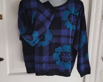1990s Floral Cropped Sweater Teal Purple Black Plaid
