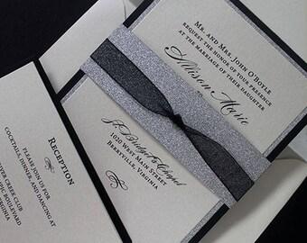 Glitter Invite, Wedding Invite, Bridal Shower Invite, Silver Wedding Invite, 50th Birthday Invite, Quinceanera Invite, Anniversary Invite