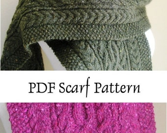 Knitted Scarf Pattern PDF -- Gormlaith -- Beautiful Cabled Aran Scarf