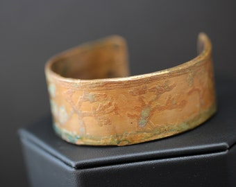 Etched Copper Cuff Bracelet (041318-007)