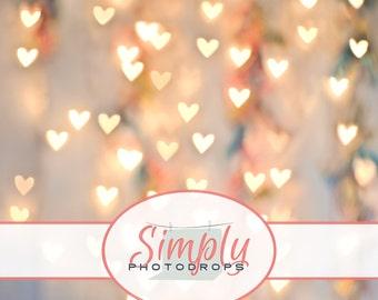 5'x5' Save 40% Today - Vinyl Backdrop, HEARTS BOKEH, Photography Backdrop // Simply Photodrops Premium vinyl backdrop