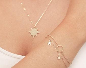 Dainty Gold Bracelet, Tiny Star Bracelet, Layered Bracelet, Friendship Gold Filled Bracelet, Everyday Gold or Silver Bracelet.