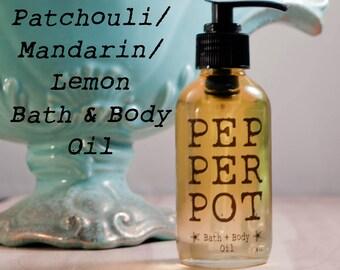 Patchouli Mandarin Lemon Bath Body Oil Moisturizing Oil Skin Care Gift For Her Pepper Pot Polish Gift Under 25