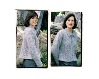 Instant Download PDF KNITTING PATTERN to make a Womens Short Cable Jacket Flared Cardigan One Size 32 to 36 inch bust