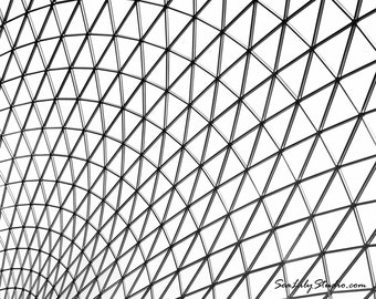 Glass Ceiling : abstract photography geometric window pane roof black white monochrome british museum 8x10 11x14 16x20 20x24 24x30