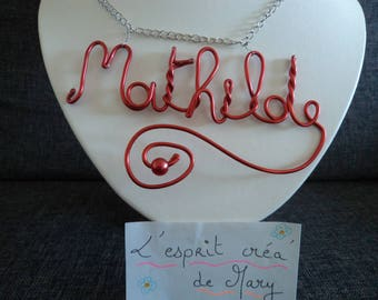 Necklace: a silver chain with a pendant personalized name Mathilde here or yours