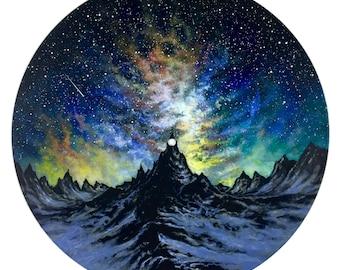 Amazing Night: Original Acrylic Painting on Vinyl Record